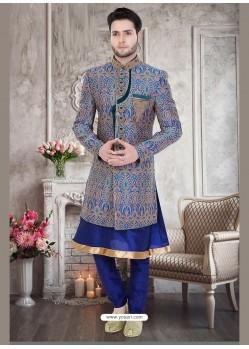 Stunning Blue Brocade Jamawar Sherwani