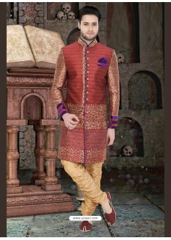 Astonishing Beige Dupion Raw Silk Sherwani
