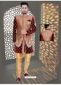Scintillating Maroon Velvet Sherwani