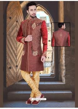 Royalist Maroon Jute Sherwani