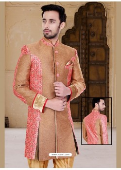 Striking Brown Churidar Sherwani