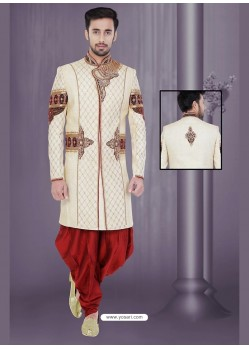 Festive Cream Wedding Sherwani