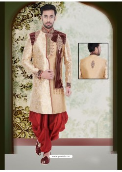 Enchanting Beige Party Wear Sherwani