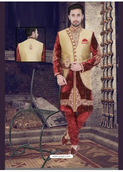 Astonishing Beige Churidar Sherwani