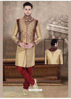 Striking Brown Party Wear Sherwani