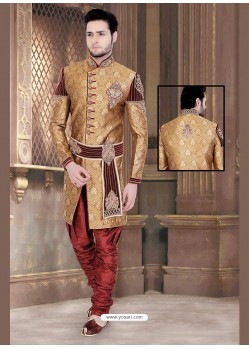 Charming Brown Brocade Jamawar Sherwani