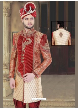 Groovy Cream Wedding Sherwani