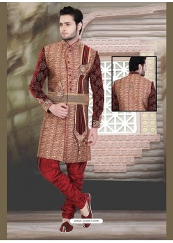 Unique Brown Jute Sherwani