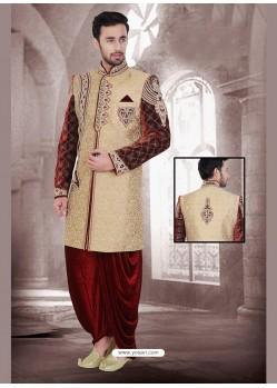 Admiring Brown Velvet Sherwani