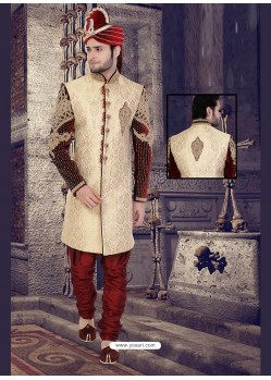 Eye-catching Beige Churidar Sherwani