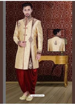 Classy Cream Dhoti Style Sherwani