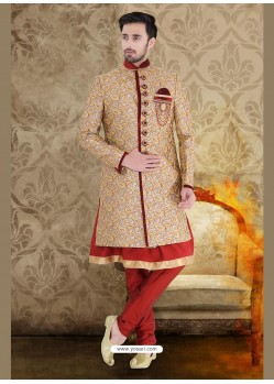 Enchanting Grey Jute Sherwani