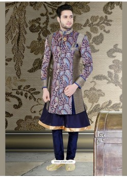 Flattering Blue Churidar Sherwani