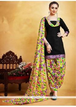 Mesmerizing Print Work Fancy Fabric Black Punjabi Suit