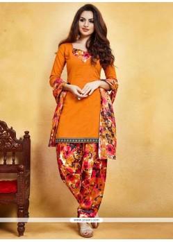 Outstanding Print Work Orange Fancy Fabric Punjabi Suit