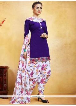 Superlative Fancy Fabric Print Work Punjabi Suit