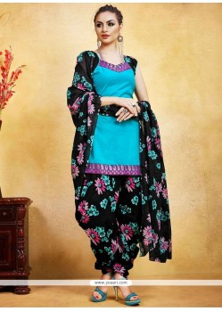 Pretty Print Work Fancy Fabric Black And Blue Punjabi Suit
