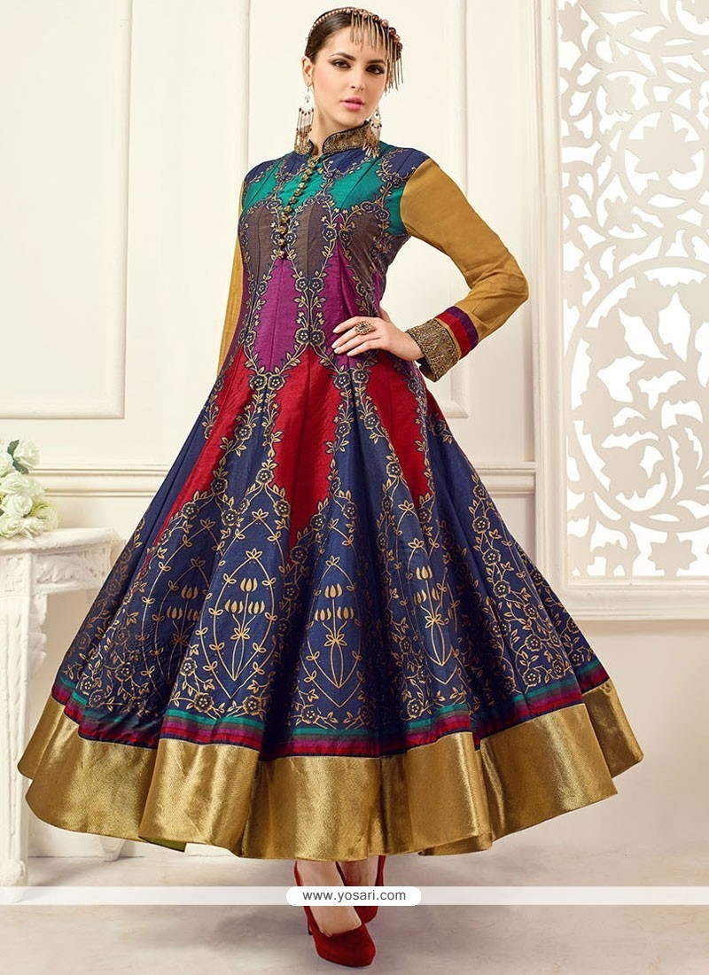Buy intrinsic multi colour embroidered work banglori silk for Floor length suits
