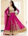 Magenta Jacquard Anarkali Salwar Suit