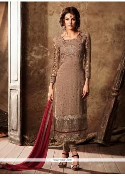 Beige Faux Georgette Designer Straight Salwar Suit