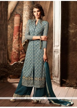 Savory Grey Embroidered Work Faux Georgette Designer Palazzo Suit