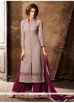 Stupendous Mauve Embroidered Work Designer Palazzo Suit