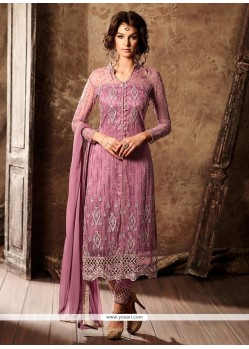 Savory Faux Georgette Rose Pink Designer Straight Suit