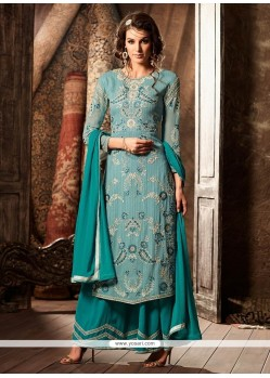 Spellbinding Faux Georgette Embroidered Work Designer Palazzo Suit
