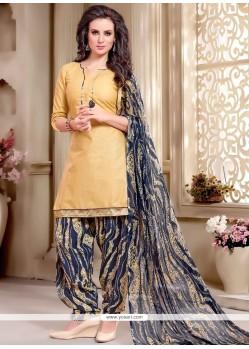 Lace Cotton Punjabi Suit In Beige