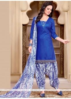 Radiant Cotton Blue Punjabi Suit