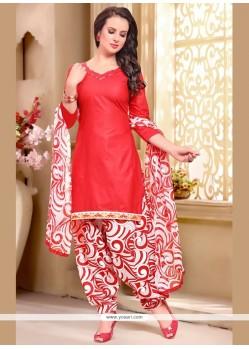 Appealing Cotton Red Print Work Punjabi Suit
