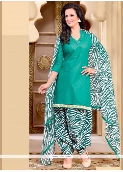 Staring Print Work Cotton Sea Green Punjabi Suit