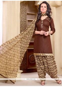 Piquant Cotton Brown Punjabi Suit