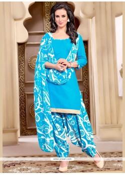 Stylish Lace Work Blue Punjabi Suit
