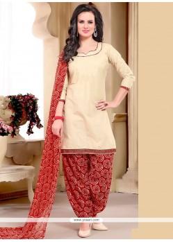 Dignified Beige Print Work Punjabi Suit