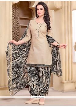 Jazzy Beige Punjabi Suit