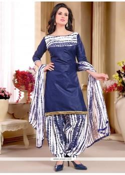 Superb Cotton Navy Blue Punjabi Suit