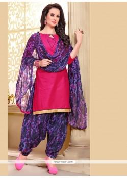Auspicious Hot Pink Lace Work Punjabi Suit