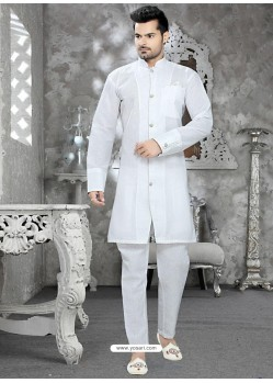Classy White Bishop Sleeves Cotton Readymade Kurta