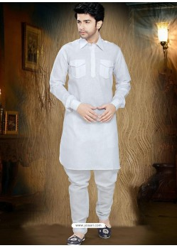 Stylish White Cotton Readymade Kurta
