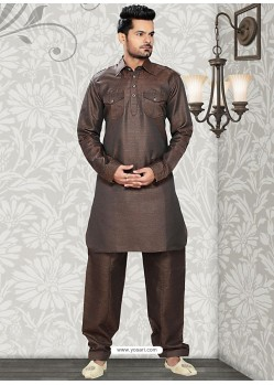 Men's Brown Cotton Readymade Kurta