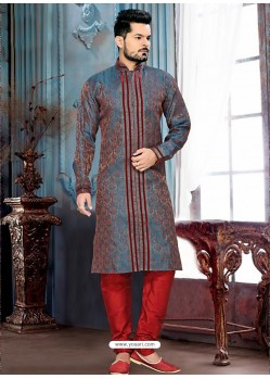 Exquisite Blue Jacquard Kurta