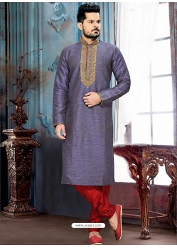 Traditional Ghicha Silk Lavender Kurta
