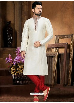 Royalist White Art Silk Kurta