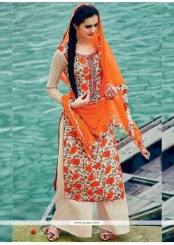 Hypnotic Cotton Orange Print Work Palazzo Suit