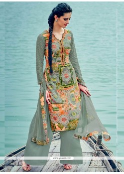 Print Cotton Palazzo Suit In Green