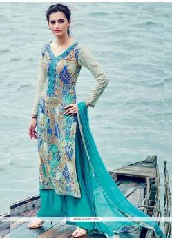 Best Print Work Blue Palazzo Suit