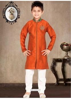 Traditional Orange Art Silk Sherwani