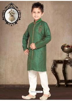 Demure Green Jaquard Sherwani