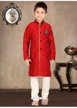 Dashing Red Pure Silk Sherwani